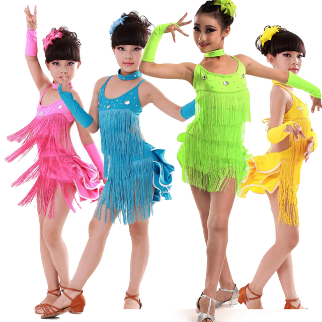 39de91f5a Tassels Girls Salsa Dancing dress Kids Ballroom Dance wear costumes ...
