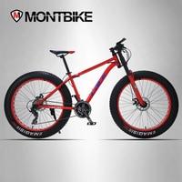 LACK Mountain Bike FatBike Steel Frame 24 Speed Shimano Disc Brakes 26 X4 0 Wheels Long