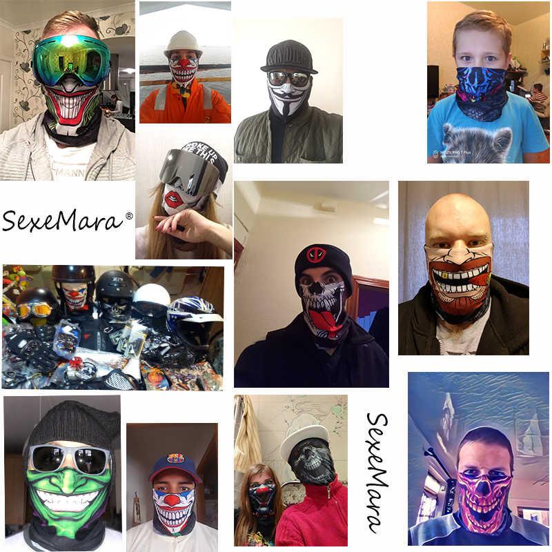 3D سلس الجمجمة عازلة باندانا الرقبة قناع الوجه الحجاب أنبوب متعددة الوظائف الهيكل العظمي باندانا للجنسين الدراجات عقال بالاكلافا