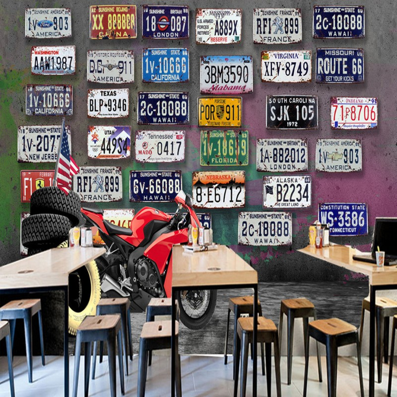 <font><b>wallpaper</b></font> <font><b>3d</b></font> Europe American retro nostalgic motorcycle <font><b>car</b></font> license wood <font><b>wallpaper</b></font> KTV bar restaurant TV backdrop mural image