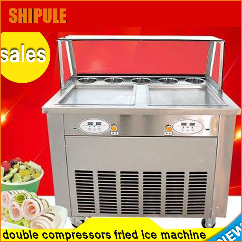 new digital double compressor double square pan with 5 toppings fry ice machine fried ice cream machine  ice pan making machine  цены