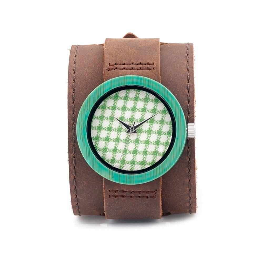 a9815e8168 Relógio De Madeira Para Mulheres Fashsion Com Tiras de Couro Genuíno