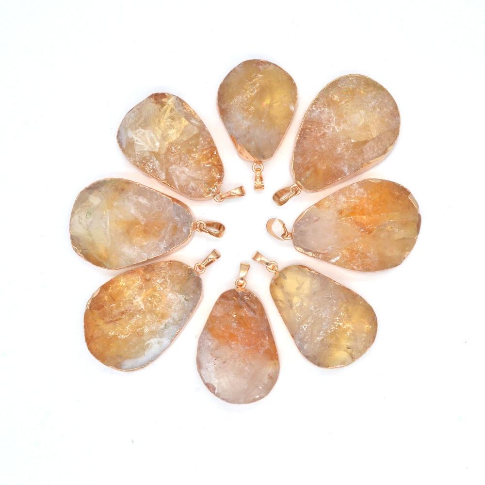19ffbe509954 Colgantes de cristal de cuarzo de piedra Natural 2019 JOYA para collar de  joyería Fabricación de materia prima collares colgantes de rebanada Lol