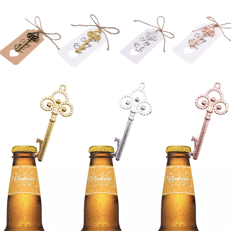 1pc Portable Key Bottle Opener Rose Gold Silver Retro Metal Keychain Hanging Ring Beer Opener Home Bar Tool Unique Creative Gift