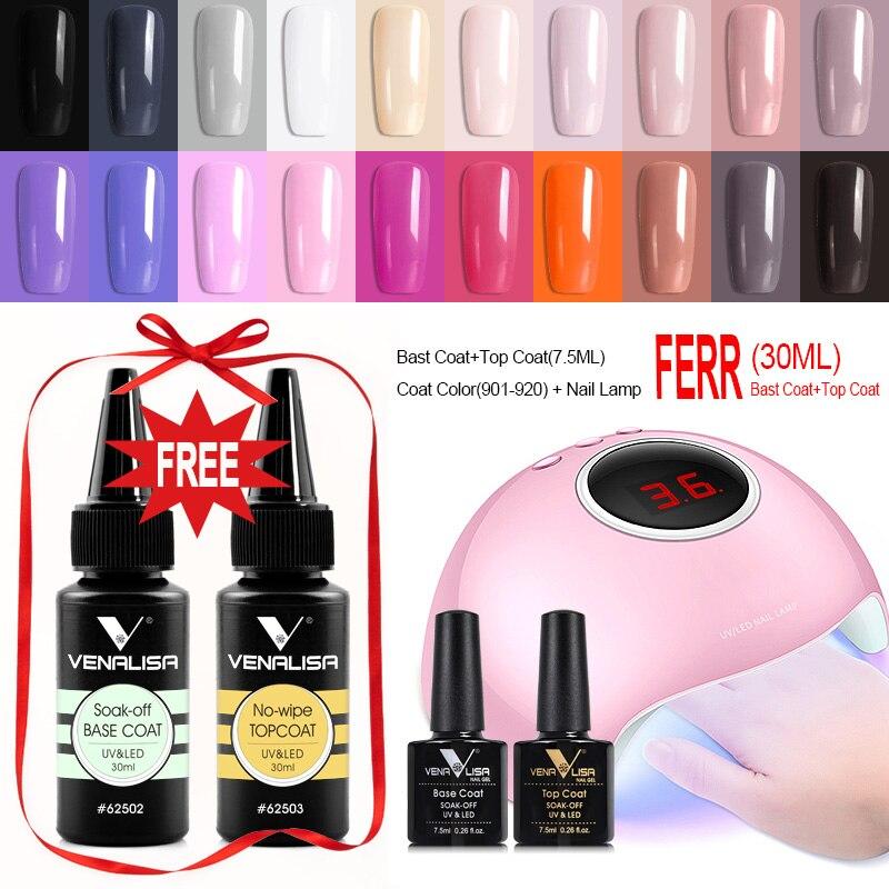 36W UV LED Nail Lamp Fast Dry VENALISA Nail Gel Polish Kits Nail Salon Used 30ML