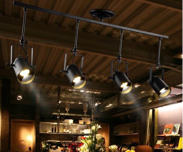 Amerikanischen Retro Schmiedeeisen Kreative Wohnzimmer Bar Restaurant Shop Led Lange Lichtpunkt Decke Lampe