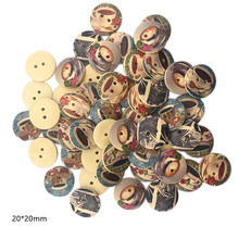20mm 50pcs 2holes Wooden Buttons Coffee Style Sewing Scrapbooking Accessories DIY Sew Craft Decorative Wood Needlework Button