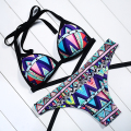 Sexy brazilian bottom halter printed patchwork  two pieces low waist beachwear swiming suits bathing sets sexy women bikini suit