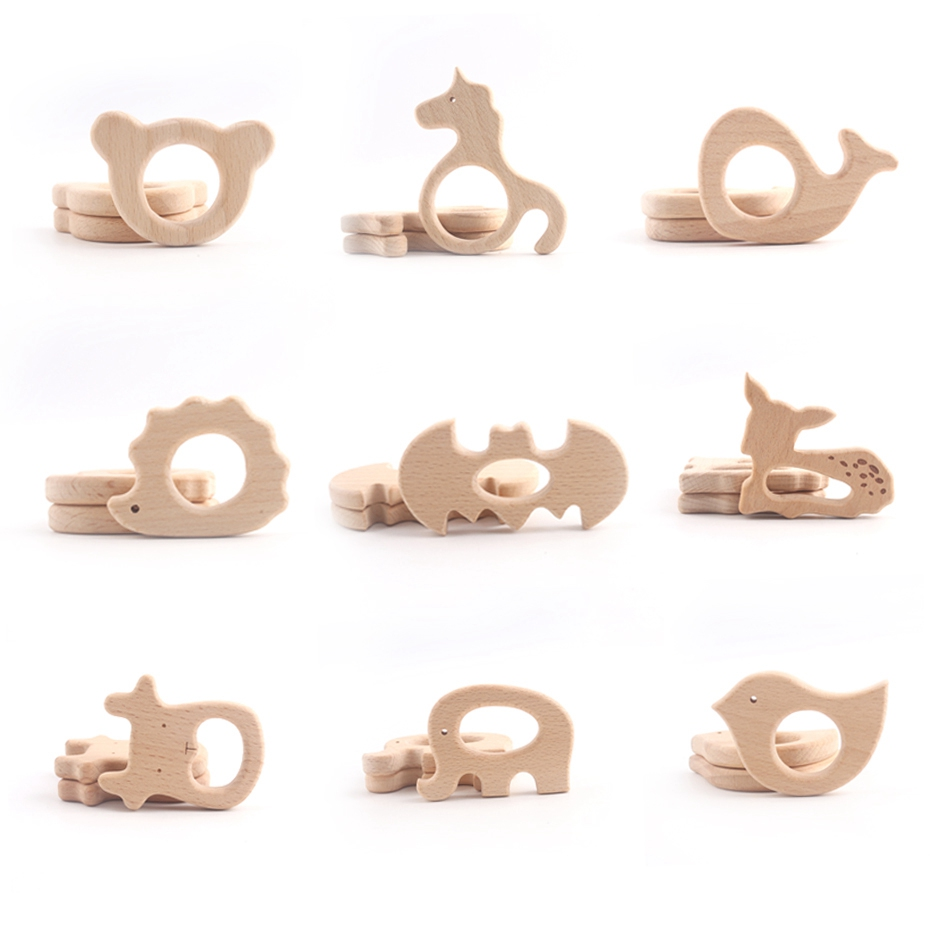 1pc Wooden Teether DIY Nursing Wood Pendant Teething Toys Cute Animal Shape Food Grade Materials Organic Chew Gift Baby Teethers let s make baby teether wood animal rattle organic teether jungle toy wooden waldorf toys diy accessories can chew baby teether