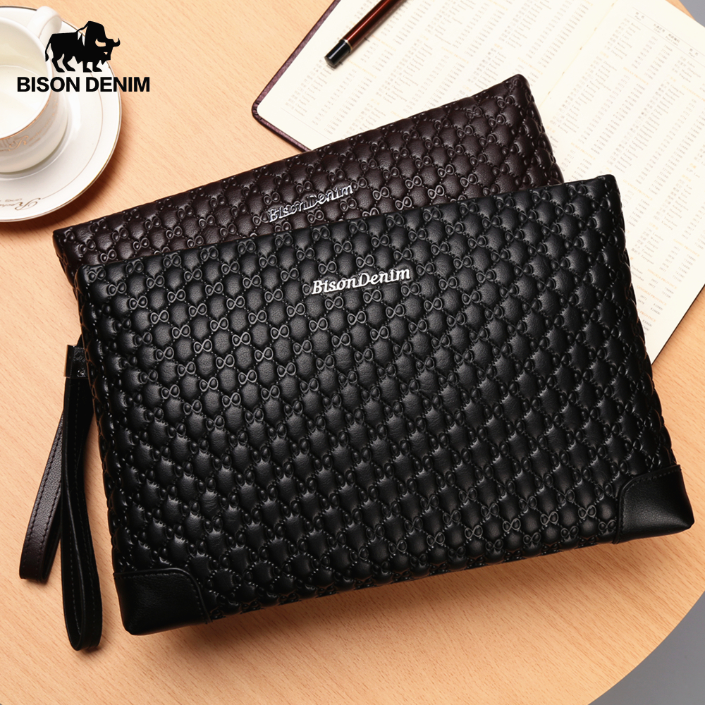 BISON DENIM Genuine Leather Mens Wallet Letter Pattern Male Clutch Wallet Brand IPad Bag Cowskin Large Capacity Male Purse N8187