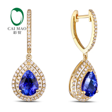 14K Yellow Gold 2.52ct  Blue Tanzanite 0.60ct Natural Diamond Engagement Drop Earrings
