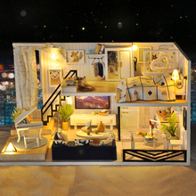 DIY Miniature Doll House Casa Toys Dollhouse Wooden Model With 3D LED Furnitures House For Dolls Handmade Toys For Children #E diy miniature doll house casa toys dollhouse wooden model with 3d led furnitures house for dolls handmade toys for children e