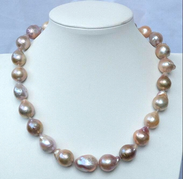 Women Jewelry Necklace 11-14MM Bright Colorful Mixed Baroque Pearl Choker Natural Freshwater pearl