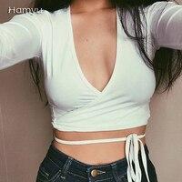 Free Shipping 2016 Fashion Harajuku American Apparel Low Front Deep V Neck Wrap Crop Top Tee