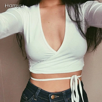 Free shipping 2016 Fashion harajuku American Apparel Low Front deep v neck Wrap crop top tee t shirt women clothing tees