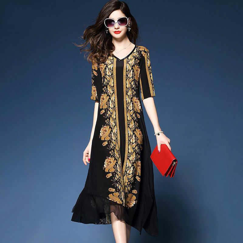 0f85c6c443d H Элитная одежда 2018 летнее платье большой Размеры шелк шифоновое платье  балахон длинное платье