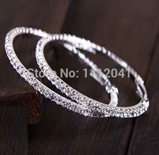 ab35c4d0d9 FD743 Fashion Fine Silver Plated Crystal Diamante Rhinestone Earring Hoop  Circle Wed Jewelry