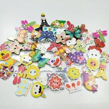 HL 50pcs Mix Color Lots Styles Cartoon Animals Wood Buttons DIY Scrapbooking Sewing Crafts