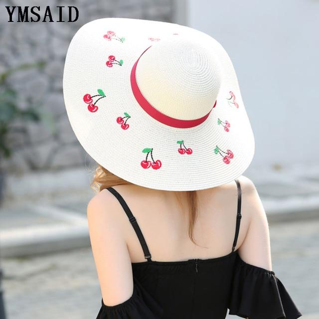 Ymsaid 2018 Outdoor Cherry Embroidery Big Brim Sun Hats Straw Hats For Women Summer Panama Ladies Beach Chapeu Feminino