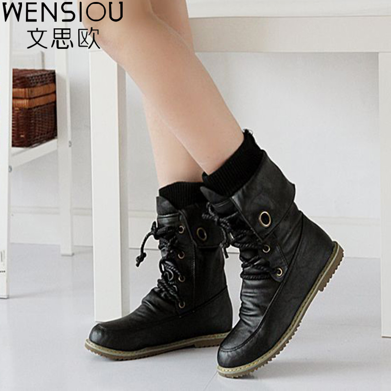 Winter Snow Women's Boots Comfortable Warm Casual Flat Shoes Footwear Female Fashion Mid-Calf Shoes Round Toe Hot Sale BGT674