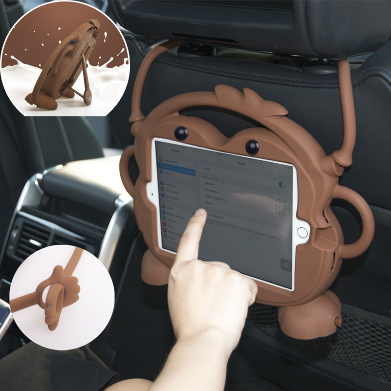 Car Back Seat Tablet Case Stand for iPad Air 1 2 Pro 9.7, Headrest Mount Holder Silicone Cartoon Cover for New iPad 2017 2018