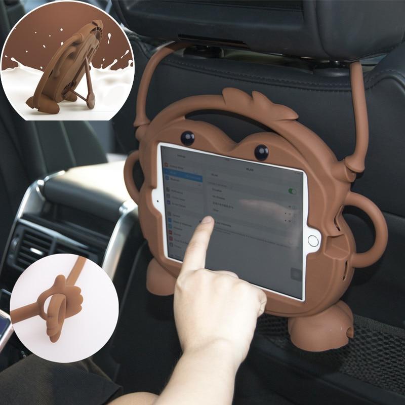Soporte de la tableta del asiento trasero del coche para el iPad Air 1 2 Pro 9,7, reposacabezas soporte de silicona de dibujos animados cubierta para nuevo iPad 2017 de 2018