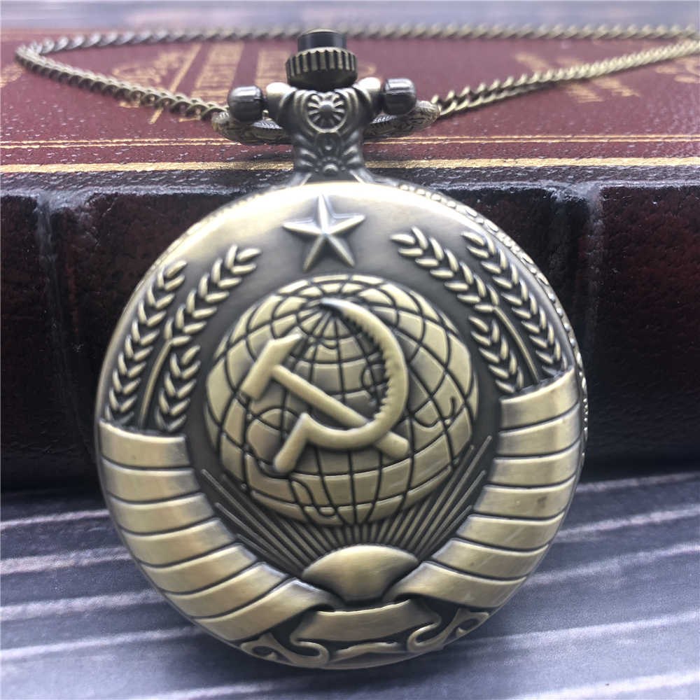 Drop Shipping Vintage USSR Soviet Sickle Hammer Style Quartz Pocket Watch Necklace Bronze Pendant Clock Unisex Watch