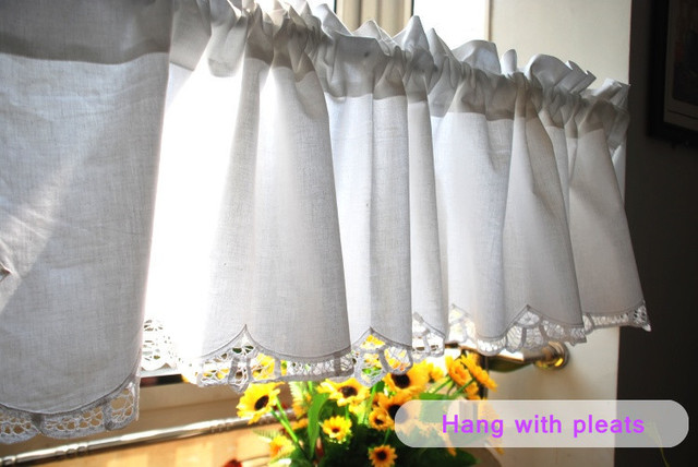 White Short Kitchen Curtains 100 Cotton Coffee Curtain Embroidered