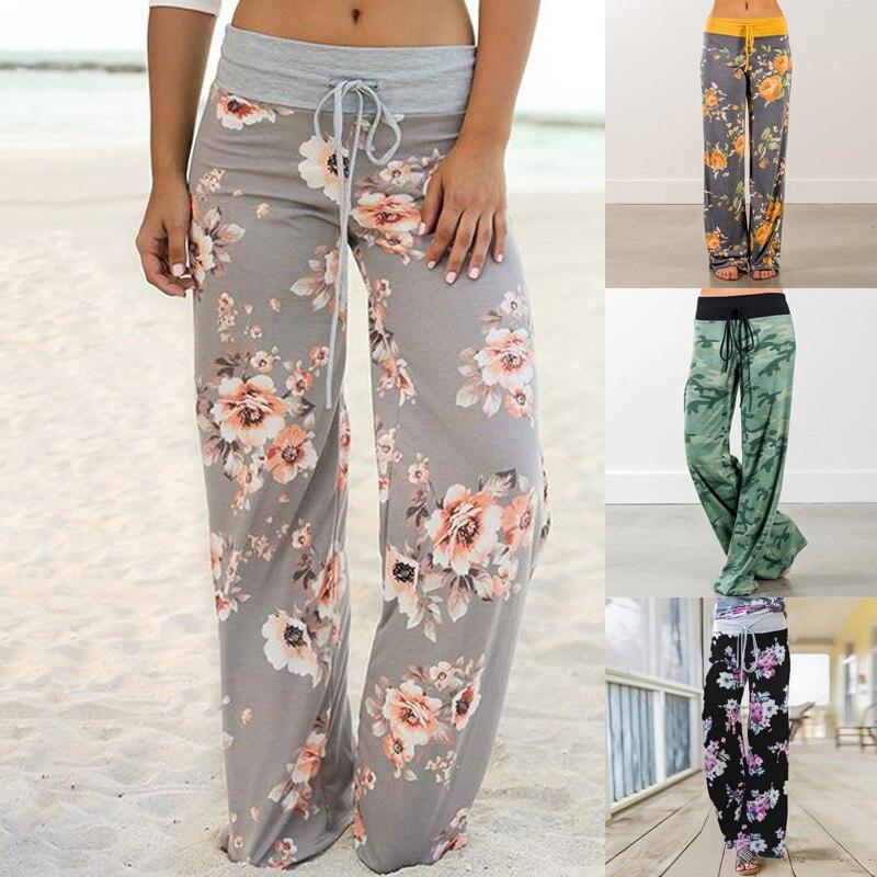 Baggy verão corredores calças florais femininas calças esportivas para mulheres senhora plus size ampla perna calça palazzo sweatpants