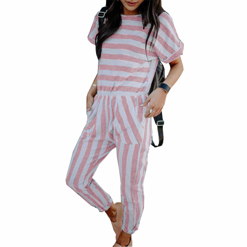 New Femme Summer Striped Jumpsuits Short Sleeve Pockets Women Rompers Back Zippert Casual Jumpsuit Sexy Plus Size Overalls GV506