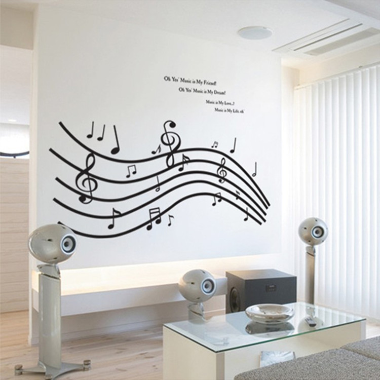 70*155cm Musical Notes Wall Sticker For Living Room Music Dance Class Room  Wall Art Decor Sticker Wall Paper In Wall Stickers From Home U0026 Garden On ...