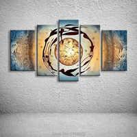 Cuchillo de alta calidad abstracto tierra mujeres pintura al óleo en lienzo 5 juegos de Pc hogar pared arte imagen para sala de estar decoración moderna