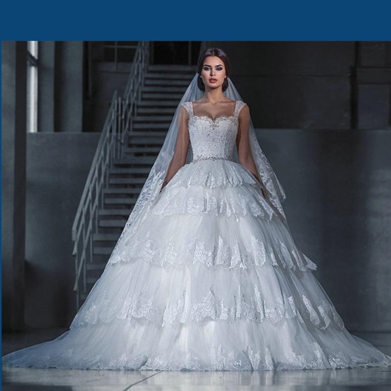 Rivini Lace Tiered Wedding Gown: Super Luxurious Vestidos De Noivas Tiered Lace Appliques