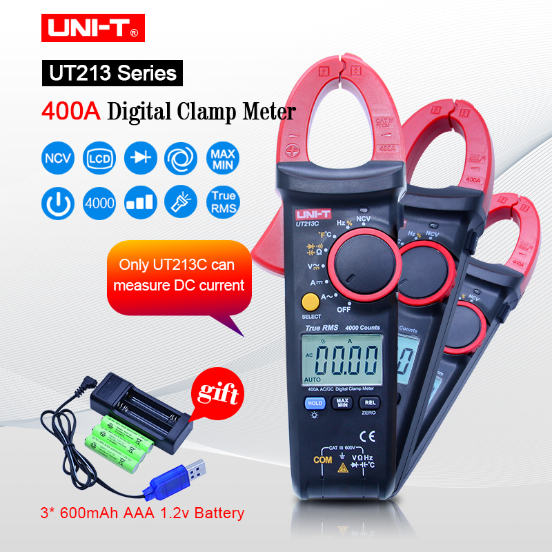 UNI-T UT213A/B/C 400A clamp meter TRMS AC DC current Voltage resistance capacitance temperature tester NCV flashlight function цена