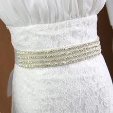 Doragrace Crystal Rhinestone Braided Wedding Dress Sash Belt