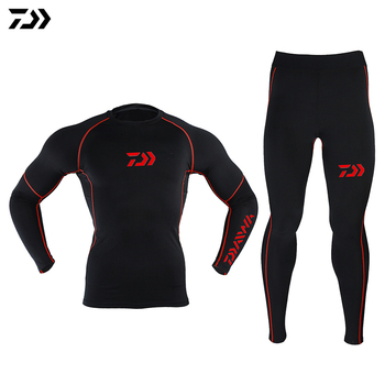 DAWA Fishing Underwear Autumn and Winter Plus Velvet Thicken Keep Warm Breathable Tight Anti Static Clothing