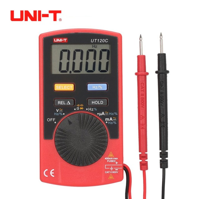 UNI-T UT120A UT120B UT120C Digital Multimeter 4000 Count Display Auto Range DC AC Voltage Current Meter Tester Pocket Multimeter