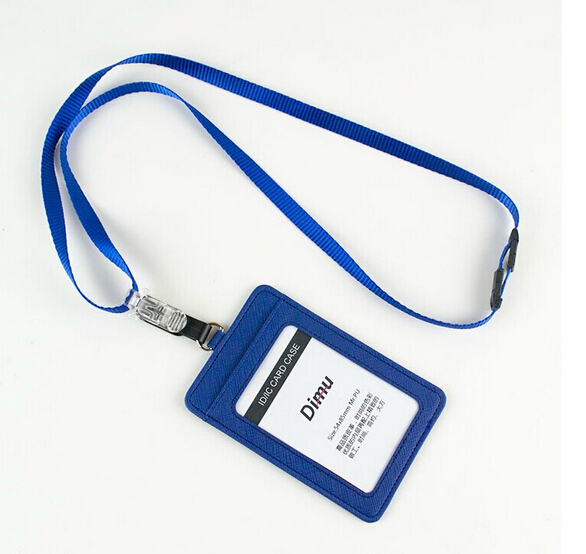 Factory Price Por Imitation Leather Employee Id Card Pu Working Holder Lanyard With Inner