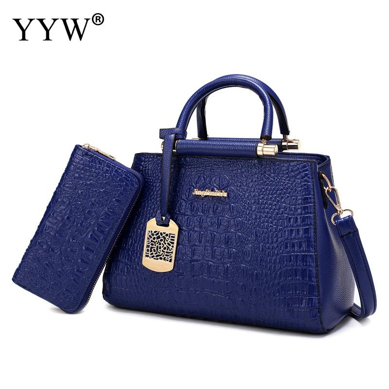 2 PCS/Set Blue PU Leather Handbags Women Bag Set Famous Brands Tote Bag Lady Crossbody Bags Serpentine Clutch Bag Women's Pouch