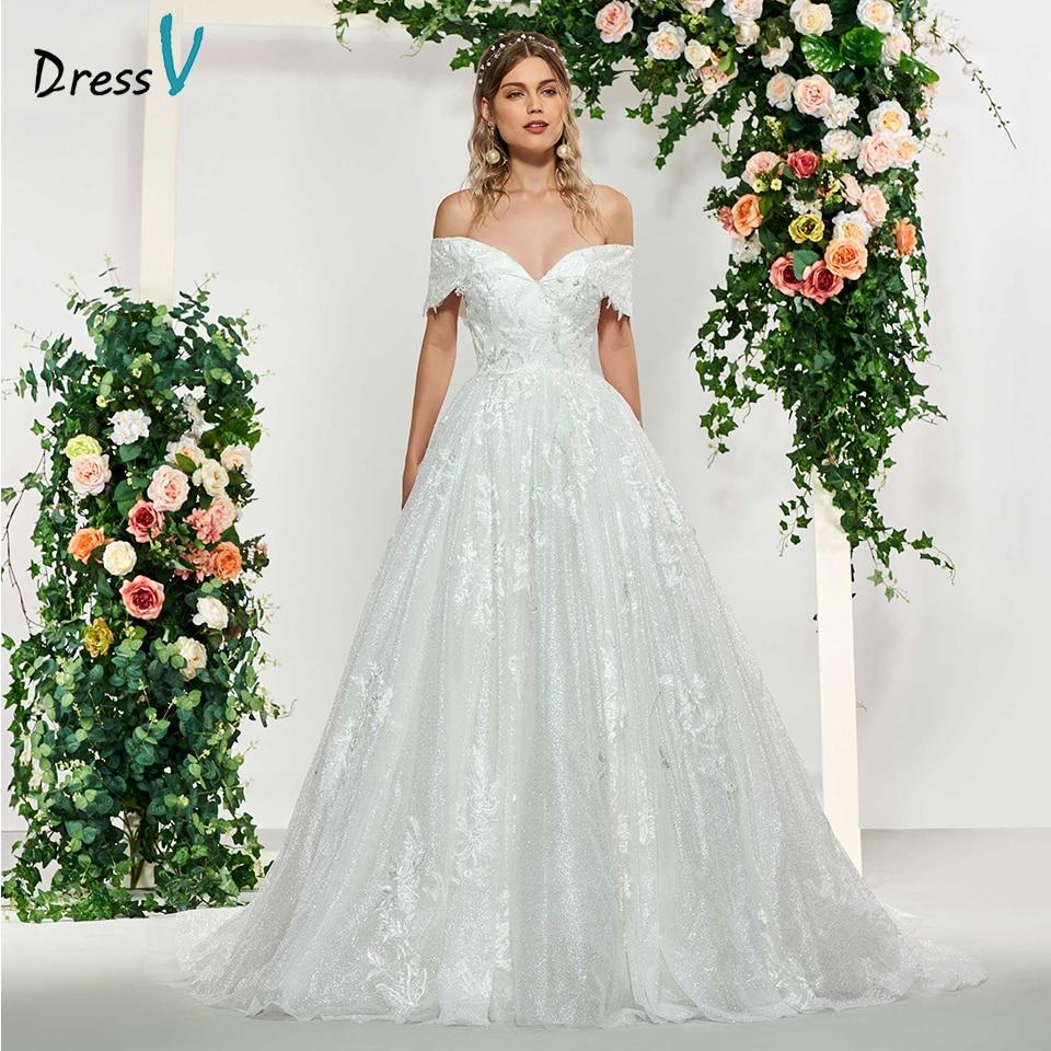 Dressv Ivory Elegant Off The Shoulder Appliques Ball Gown Wedding Dress Floor Length Bridal Outdoor&church Lace Wedding Dresses