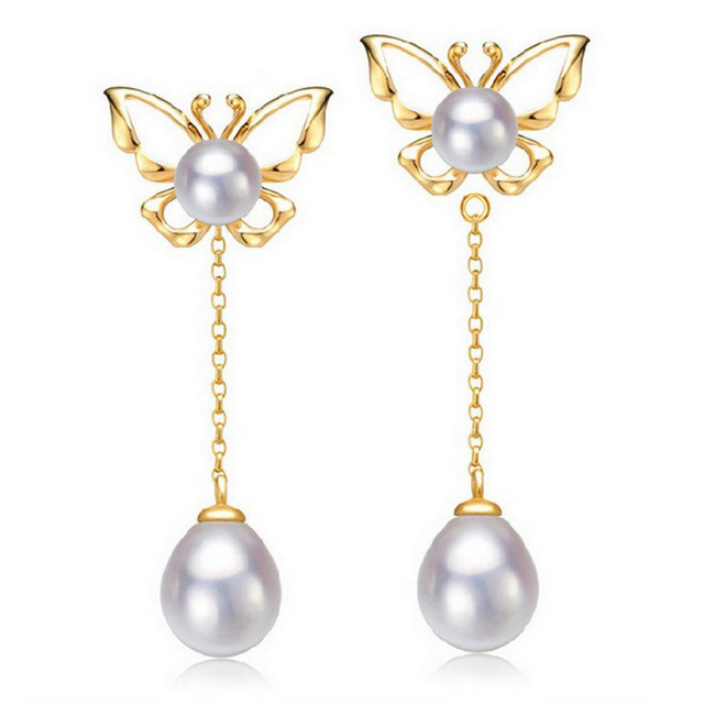 ASHIQI Real pure 925 sterling silver butterfly Earrings Freshwater Pearl Earing Natural double pearl earrings For Women