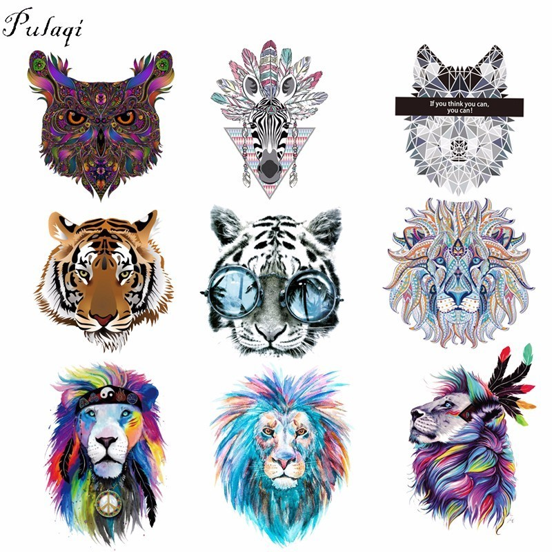 Fashion Wolf Tiger Patches Iron on Clothes Stickers Thermal Transfer DIY Crafts