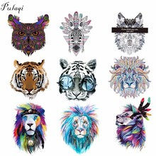 Pulaqi Iron On Clothes Patches Tiger Lion Wolf Heat Thermal Transfer Stickers For Man T-shirt Appliqued Garment Accessories D
