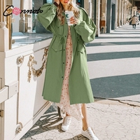 Conmoto Khaki Long Trench Coat Spring 2019 Lace Up Waist Lantern Sleeve Pocket Coat Women Solid Elegant Coats Female Plus Size