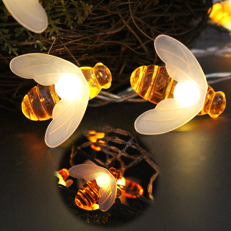 6M 40LED Bee Shaped LED Christmas Garlands String Lights Battery Flash Fairy Lights For Party Garden Wedding New Year Decoration