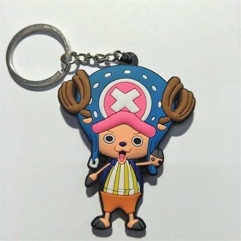 One Piece PVC Keychain Figures Toys Anime Cartoon Luffy Chopper Zoro Nico Nami  Sanji Key Bag Pendants Keyring Dolls 10pcslot (1)