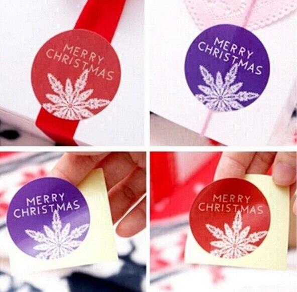 80pcs/lot Round design snow flower Merry Christmas series DIY  multifunction Sealing sticker baking packaging label
