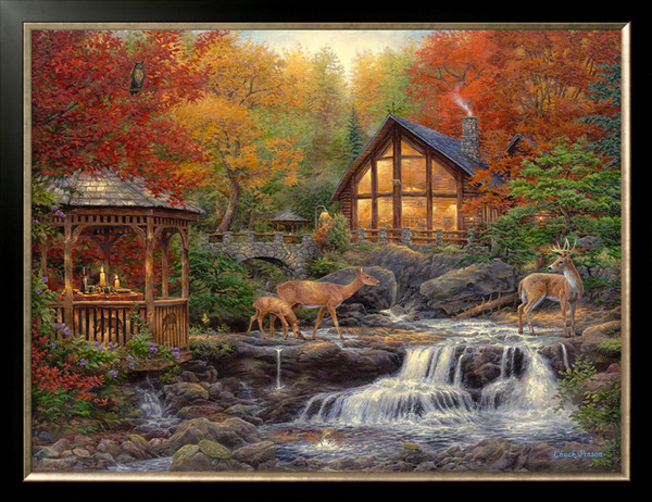 Needlework Crafts 14CT Counted Unprinted For Embroidery Fawn Forest Creek house Scenery DIY Quality Cross Stitch Kits Art