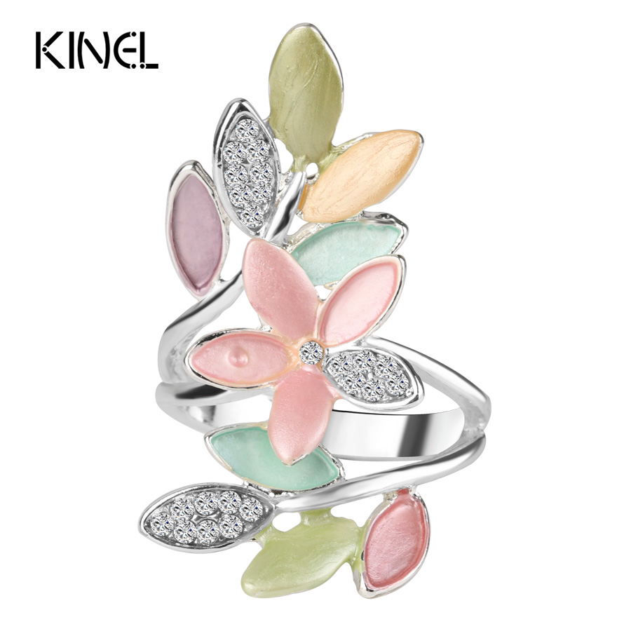 2017 Nye trendy flerfarget emalje ringer for kvinner Crystal Wedding Ring Kvinne Vintage smykker Wholesale Girl Gift