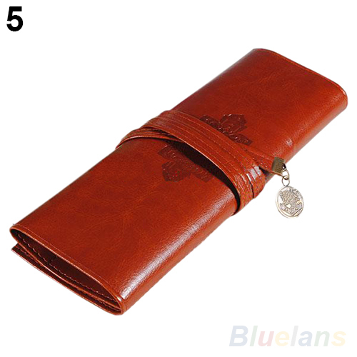 Vintage Retro Roll Leather Make up Cosmetic Pen Pencil Case Pouch Purse Bag 02PT 4OIZ handmade vintage leather zipper pen pencil pouch wallet glasses toolkit toiletry cosmetic makeup bag case 9115fs